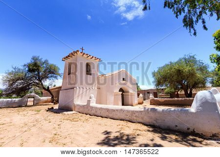 Old Adobe Church With Steeple In Catamarca, Argentina