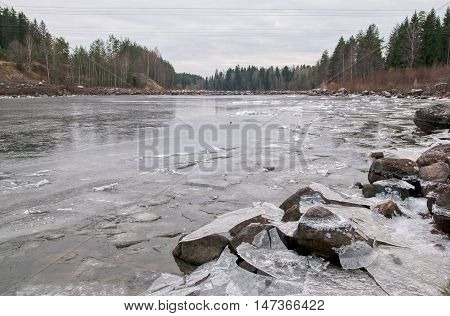 Imatra. Finland. Ice on The Vuoksi River next to The Kruununpuisto Park and Imatrankoski Rapids