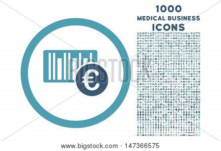 Euro Barcode rounded vector bicolor icon with 1000 medical business icons. Set style is flat pictograms, cyan and blue colors, white background.
