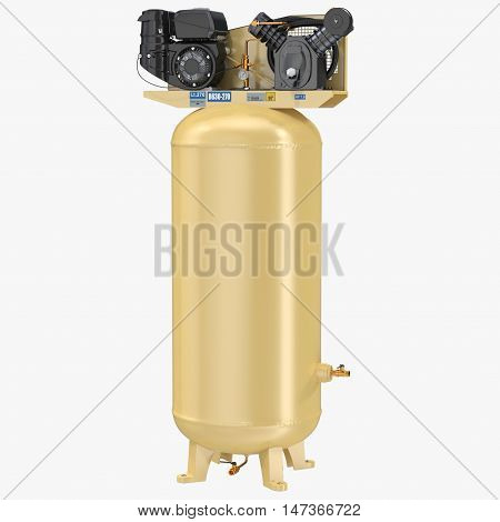 Piston Air Compressor on White Background 3D Illustration