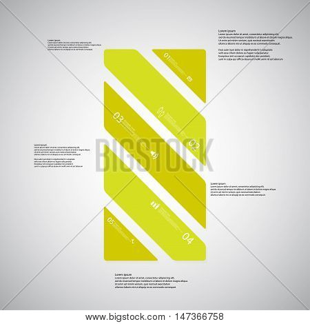 Bar Illustration Template Consists Of Five Green Parts On Light Background