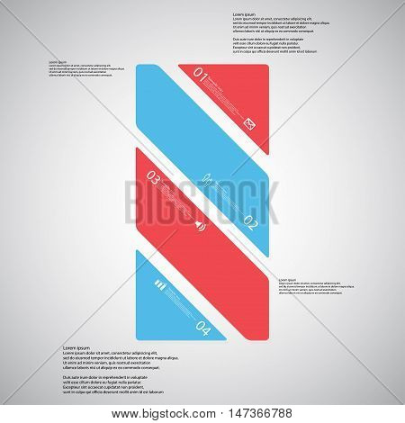 Bar Illustration Template Consists Of Four Color Parts On Light Background