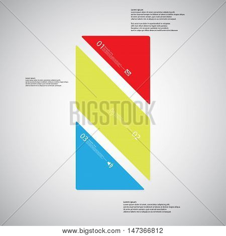 Bar Illustration Template Consists Of Three Color Parts On Light Background
