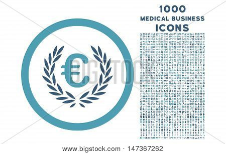 Euro Glory rounded vector bicolor icon with 1000 medical business icons. Set style is flat pictograms, cyan and blue colors, white background.