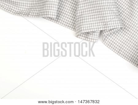 the tablecloth on white backgroundcrumpled fabric background