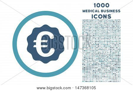 Euro Reward Seal rounded vector bicolor icon with 1000 medical business icons. Set style is flat pictograms, cyan and blue colors, white background.