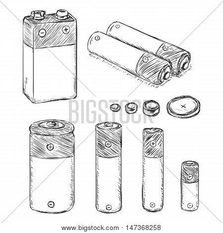Vector Set Of Sketch Batteries