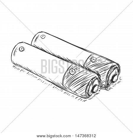Vector Sketch Couple Of Penlight Batteries