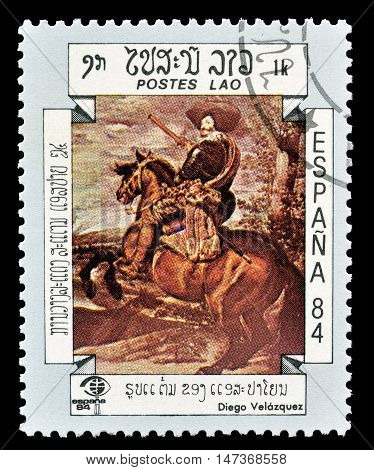 LAOS - CIRCA 1984 : Cancelled postage stamp printed by Laos, that shows painting by Diego Velazguez.