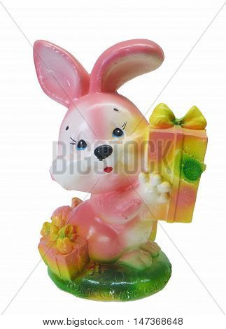 Bright porcelain hare with gift insulated on white background