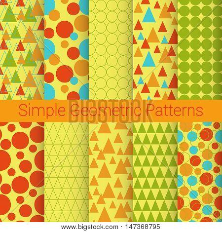 simple geometric patern set of ten objects