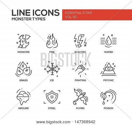 Monsters types - set of modern vector plain line design icons and pictograms. Fire, electric, water, grass, ice, fighting, psychic, ground steel flying poison
