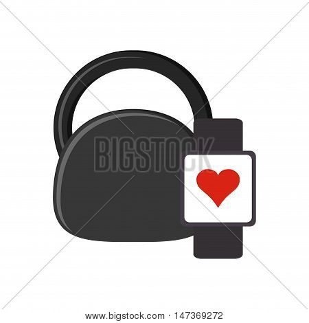 flat design kettlebell and heart rate wrist monitor icon vector illustration