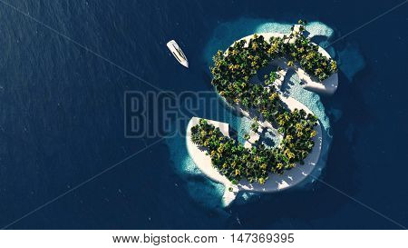 Success Way. Tropical Island In The Form Of Dollar