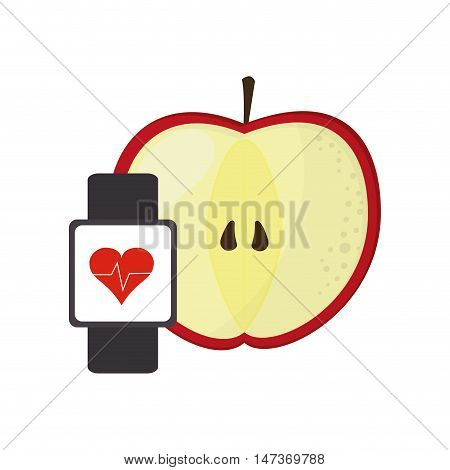 flat design apple and heart rate wrist monitor icon vector illustration