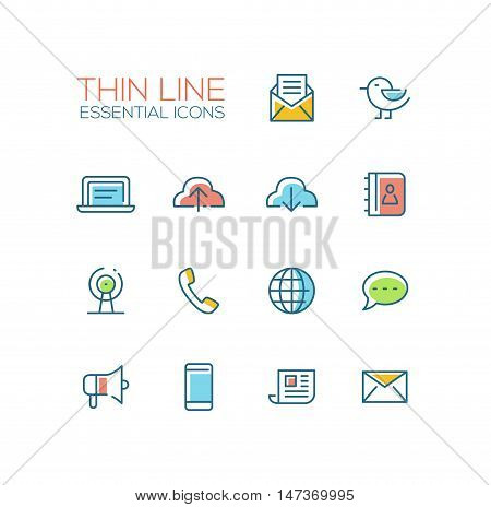 Network and technology symbols - set of modern vector thick line design icons and pictograms. Mail, cloud, laptop, contacts, location, phone, message, promote, smartphone, newsletter letter globe