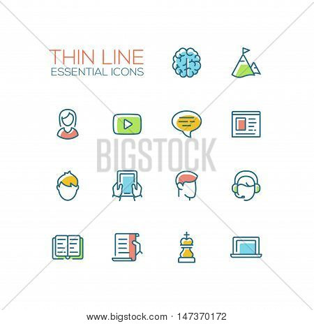 Business, finance symbols - set of modern vector thick line design icons and pictograms. Brain, mountains, female, play button, news, male, tablet, headset, book, scroll chess piece laptop