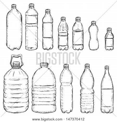 Vector Set Of Sketch Plastic Bottles