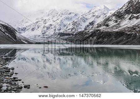 Reflection At Aoraki/mount Cook National Park, New Zealand