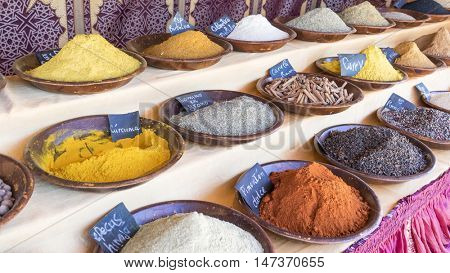 Ingredient, variety of colorful spices and different flavors, spices traditional cooking