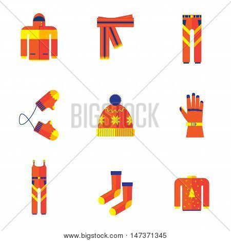 set of autumn winter clothes.kit winter clothes flat icon isolated on white background