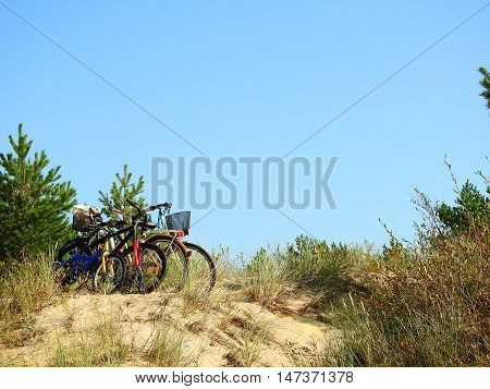 Family holiday. Bicycles on a sand hill at the beach.