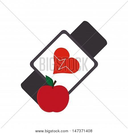 flat design heart rate wrist monitor and apple  icon vector illustration