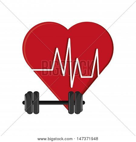 flat design heart cardiogram and dumbbell  icon vector illustration