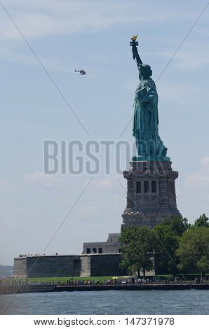 Statue Of Liberty With Helicopter, New York City