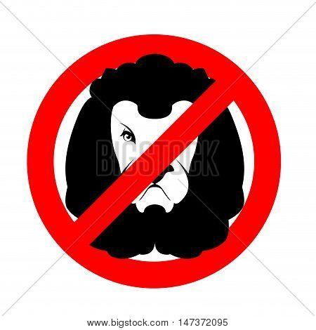 Stop Lion. Prohibited Wild Animal. Emblem Against Predator. Red Prohibition Sign. Ban Wild Beast