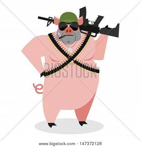 Military Pig With Rifle. Boar With Gun. Hog And Machine-gun Tape. Animal Soldiers. Army Style. Soldi