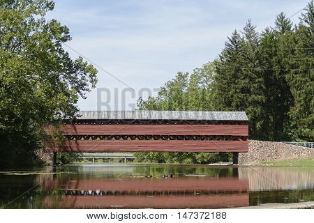 Sach's Covered Bridge in Gettysburg Pennsylvania USA has been in place since 1852 and was used by both sides during the Battle of Gettysburg.