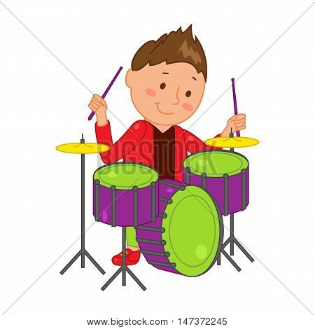 Cartoon musician kid. Vector illustration for children music. Boy isolated on white background. Cute school musical student clip art. Drummer with drum instrument