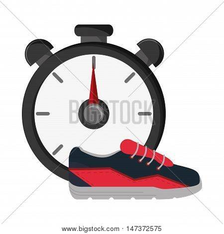 flat design chronometer and sneakers   icon vector illustration