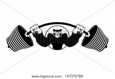 Angry Pig Athlete. Barbell And Aggressive Big Boar. Evil Wild Animal Bodybuilder. Logo For Sports Te