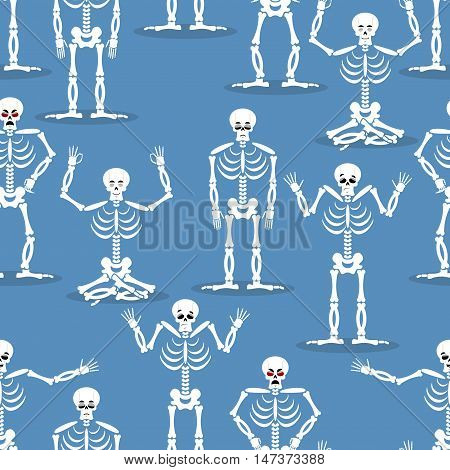 Skeleton Background. Bones And Skull Ornament. Ornament Of Dead. Happy Skeletons Texture. Halloween