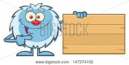 Cute Little Yeti Cartoon Mascot Character Pointing To A Wooden Blank Sign