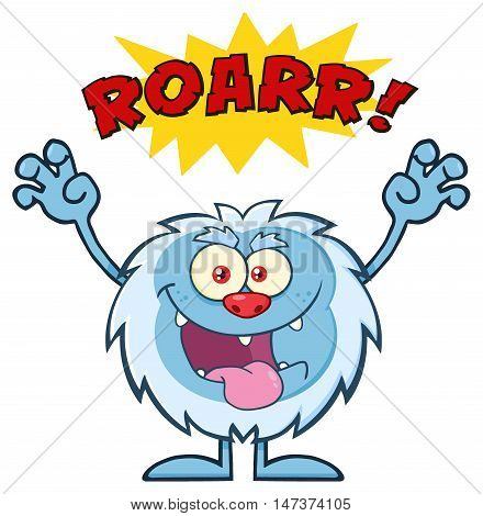 Scary Yeti Cartoon Mascot Character With Angry Roar Sound Effect Text. Illustration Isolated On White Background