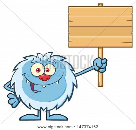 Smiling Little Yeti Cartoon Mascot Character Holding Up A Wooden Blank Sign. Illustration Isolated On White Background