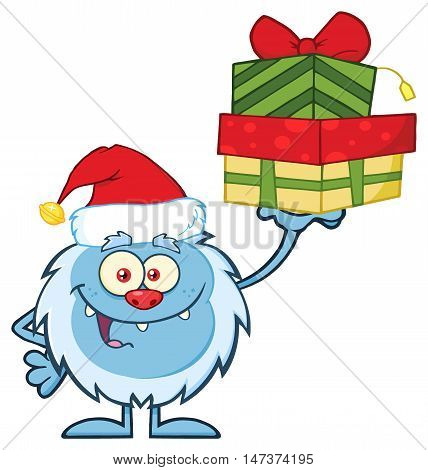 Smiling Little Yeti Cartoon Character With Santa Hat Holding Up A Gifts. Illustration Isolated On White Background