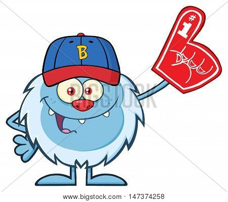 Happy Little Yeti Cartoon Mascot Character With Baseball Hat Wearing A Foam Finger