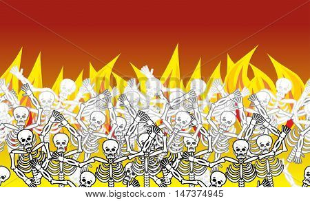 Sinners In Fire Hell Horizontal Pattern. Dead In  Gehenna. Skeletons Screaming For Help. Hells Torme