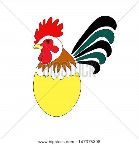 Image of the cock on the egg. Rooster. Chineese calendar symbol of  new year 2017