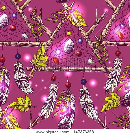 Beautiful hand drawn vector boho style illustration of dreamcatcher. Seamless pattern.