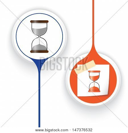 Two vector objects and sand glass symbol