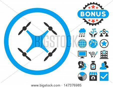 Airdrone icon with bonus pictures. Vector illustration style is flat iconic bicolor symbols, blue and gray colors, white background.