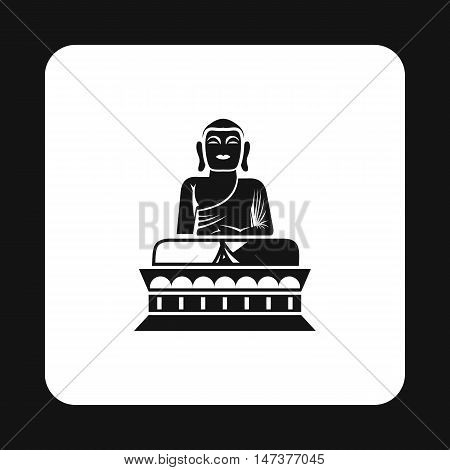 Buddha statue icon in simple style isolated on white background. Religion symbol vector illustration