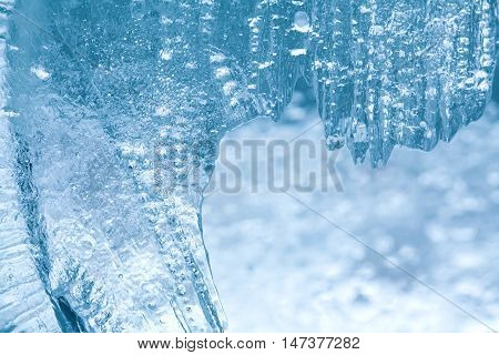 Frozen ice macro view. Icy pattern background. macro view photo