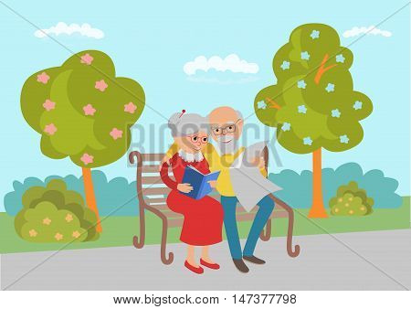 Elderly couple sitting on the park bench and read. Vector illustration.