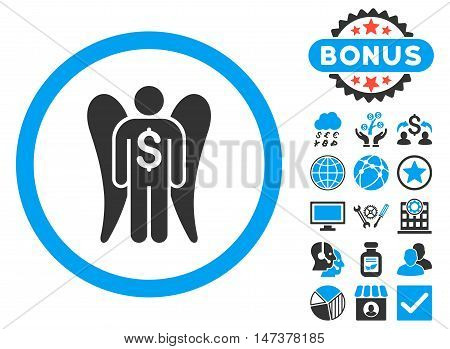 Angel Investor icon with bonus pictures. Vector illustration style is flat iconic bicolor symbols, blue and gray colors, white background.
